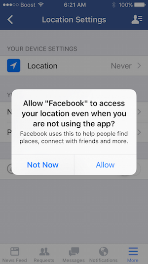 Facebook Location History Tracking endegélyezése