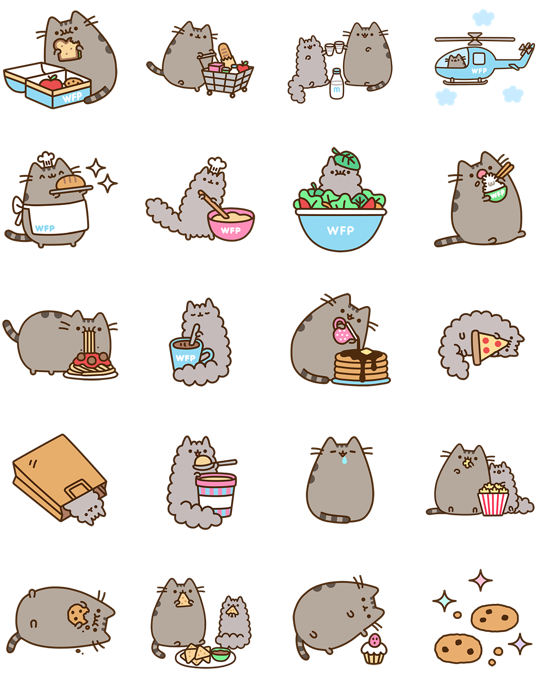 pusheen cat macskás facebook stickerek